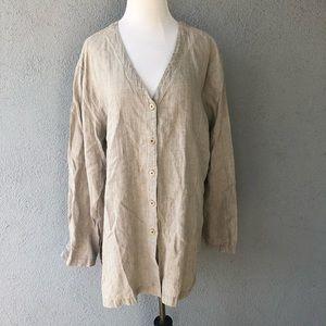 EILEEN FISHER 100% Linen Tunic Button Up Top